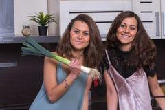 Счастливые близнецы закрывают вверх по портрету в кухне на предпосылке Стоковые Изображения RF