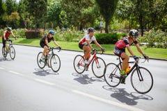 Счастливые велосипедисты состязаясь стоковое фото