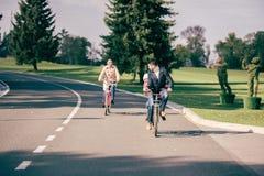 Счастливые велосипеды катания семьи в парке Стоковое Изображение RF