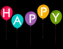 Счастливые воздушные шары партии - изолированные над чернотой Стоковое Изображение RF