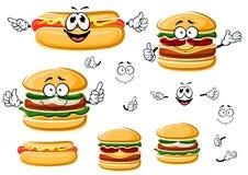 Счастливые гамбургер, хот-дог и cheeseburger иллюстрация вектора
