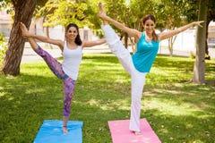 Счастливые девушки делая йогу Стоковая Фотография