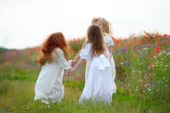 Счастливые девушки играя на поле мака Стоковое фото RF