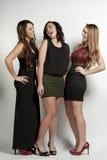 Счастливые девушки на белизне Стоковое Изображение