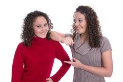 Счастливые девушки: Портрет реальных женских близнецов нося pullov зимы Стоковая Фотография