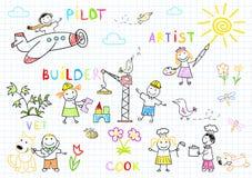 Счастливые дети в носке работы Стоковая Фотография