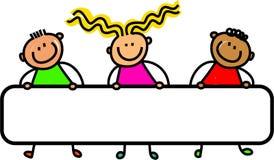 Счастливые дети знамени бесплатная иллюстрация