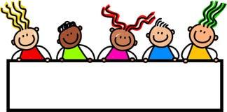 Счастливые дети знамени Стоковое Изображение