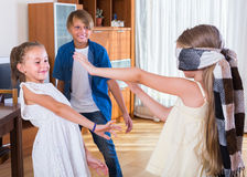 Счастливые дети играя с безпассудством Стоковые Изображения