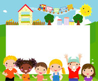Счастливые дети и знамя Стоковое Изображение