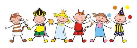 Счастливые дети и масленица иллюстрация вектора