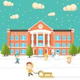 Счастливые дети идут к школе Стоковое Фото