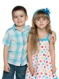 Счастливые дети на белой предпосылке Стоковое фото RF