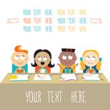 Счастливые дети на уроке назад к теме школы Иллюстрация штока