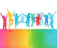 Счастливые дети скачут Стоковая Фотография RF