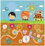 Счастливые дети с предпосылкой ландшафта фантазии. Стоковые Фотографии RF