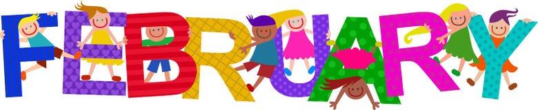 Счастливые дети текста в феврале бесплатная иллюстрация