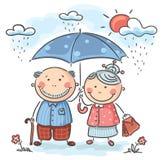 Счастливые деды шаржа иллюстрация штока