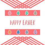 Счастливые значки дизайна пасхальных яя установили предпосылку Стоковая Фотография