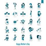 Счастливые значки дня матерей Стоковые Фотографии RF
