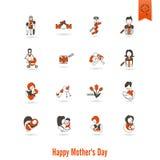 Счастливые значки дня матерей Стоковые Изображения