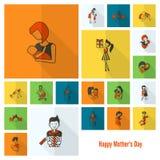 Счастливые значки дня матерей Стоковое Изображение RF
