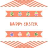 Счастливые значки пасхальных яя установили с предпосылкой ленты Стоковые Изображения RF