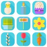 Счастливые значки пасхи красочные также вектор иллюстрации притяжки corel Праздник весны Комплект плоских деталей прямоугольника  Стоковое Фото