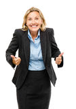 Счастливые зрелые большие пальцы руки бизнес-леди вверх изолированные на белом backgrou стоковые фотографии rf
