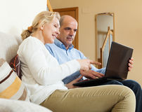 Счастливые зрелые пары с компьтер-книжкой Стоковое Изображение