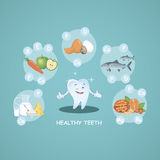 Счастливые здоровые зубы Правильное питание еда здоровая красивейшая усмешка вектор Иллюстрация для зубоврачевания детей иллюстрация штока