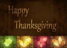 Счастливые листья Grunge благодарения Стоковые Фото