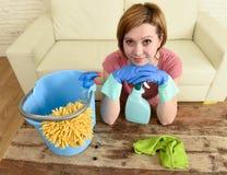 Счастливые и жизнерадостные таблица и мебель живущей комнаты женщины или домохозяйки очищая с тканью Стоковое Фото