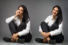 Счастливые и унылые бизнес-леди Стоковые Фотографии RF
