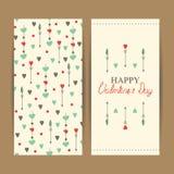 Счастливые карточки дня валентинки с сердцами Стоковые Изображения