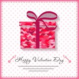 Счастливые карточки дня валентинок с подарком на предпосылке Стоковая Фотография RF