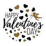 Счастливые карточки дня валентинок с сердцами, ангелом и стрелкой изолят Стоковое Изображение