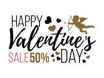 Счастливые карточки дня валентинок с сердцами, ангелом и стрелкой Продажа Стоковое фото RF
