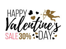 Счастливые карточки дня валентинок с сердцами, ангелом и стрелкой Продажа Стоковые Фото