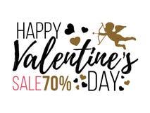 Счастливые карточки дня валентинок с сердцами, ангелом и стрелкой Продажа Стоковые Изображения RF