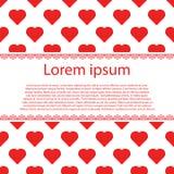 Счастливые карточки дня валентинок с сердцами и нашивкой текста Стоковое Изображение