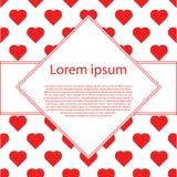Счастливые карточки дня валентинок с сердцами и рамкой текста косоугольника Стоковое Изображение