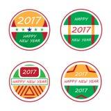 Счастливые комплект значка Нового Года 2017 красочный Стоковая Фотография