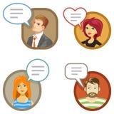 Счастливые клиенты шаржа и их обзоры Стоковое Фото