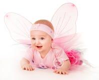 Счастливые малые игры крылов бабочки девушки на поле Стоковое Изображение RF
