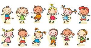 Счастливые малыши шаржа Стоковое фото RF