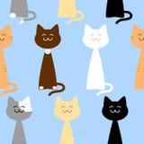 Счастливые милые коты безшовная картина, иллюстрация вектора Стоковая Фотография RF