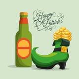 счастливые монетки пива и ботинка бутылки дня patricks st Стоковые Изображения