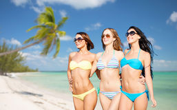 Счастливые молодые женщины в бикини на пляже лета Стоковое Фото