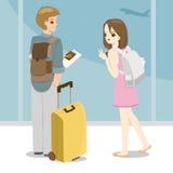 Счастливые молодые пары держа пасспорт в руке иллюстрация вектора